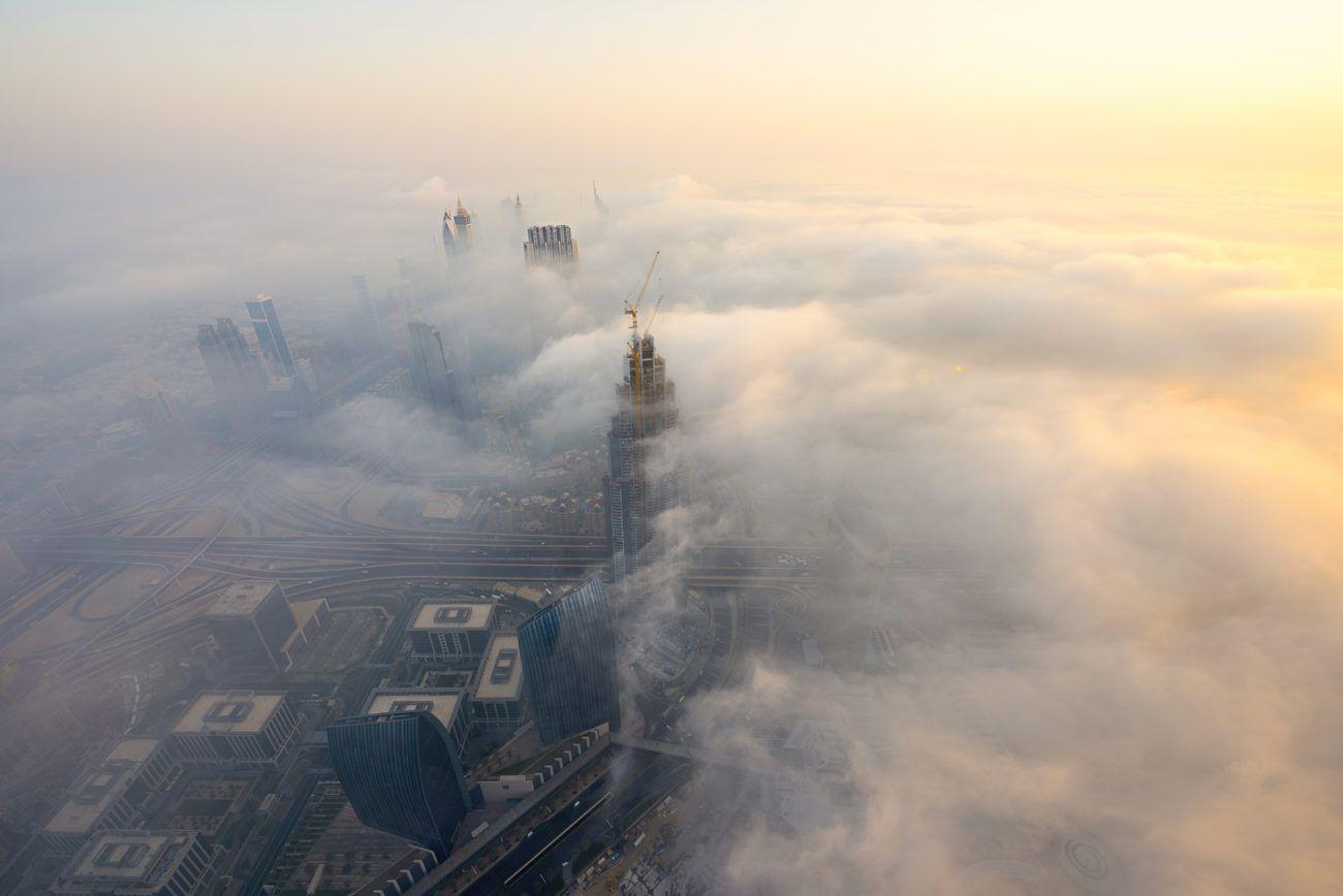 Lauren Bath - Fog Descends Travel Photography Dubai United Arab Emirates. Burj Khalifa