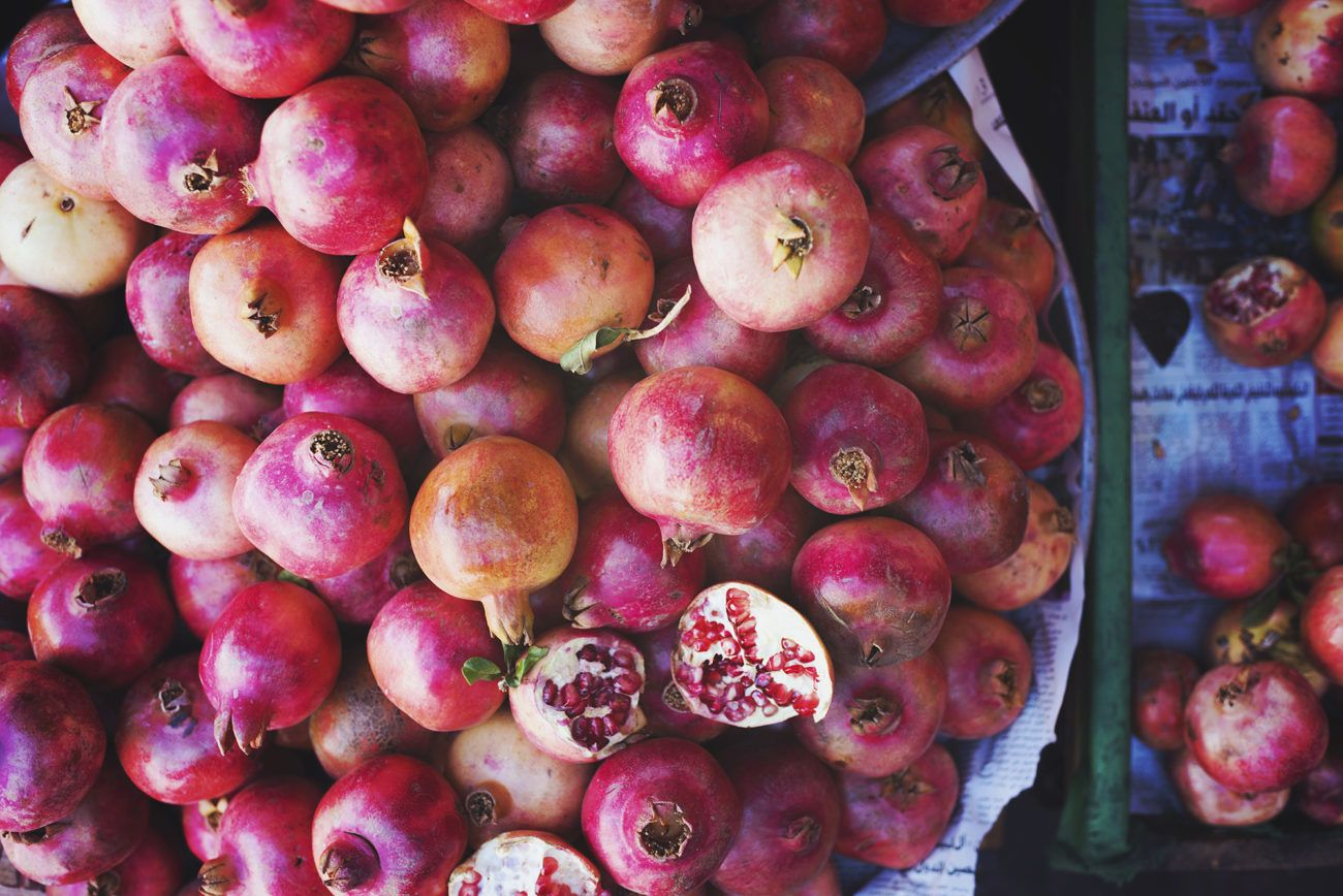 Lauren Bath - Pomegranates at the farmers markets in Amman Jordan