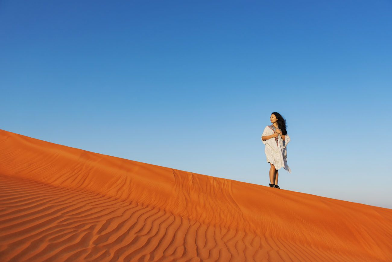 Lauren Bath - Desert Lines Portrait. Dubai, United Arab Emirates